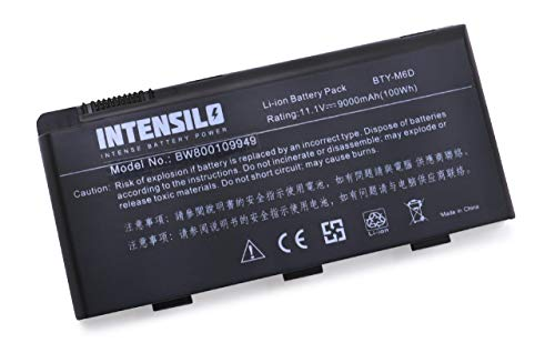 INTENSILO Li-Ion Akku für Medion Erazer X6811, X6813, X6817, X6819, X6821, X6823, X7813, X7815, X7817 Notebook Laptop wie BTY-M6D - (9000mAh, 10.8V)