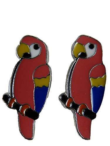Ohrringe Ohrstecker Stecker Papagei Ara Vogel Tier Voliere rosa 12.650
