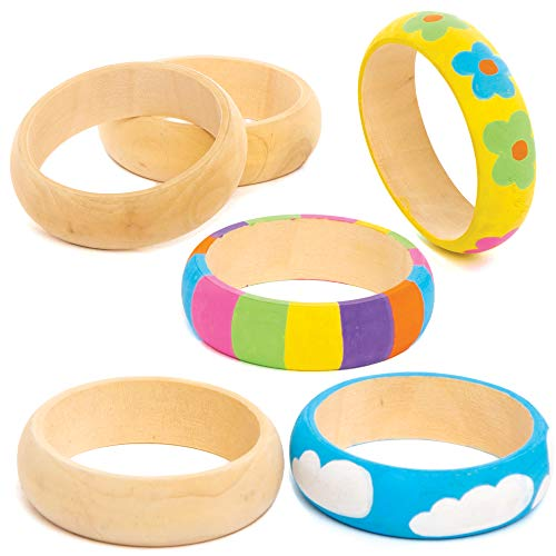 Baker Ross Wooden Bracelets, Children can Design their own Bangle Jewellery (4 Pack), AT409