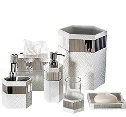 White and gold Elegant 6 Piece Bathroom Ceramic Accessory Set High Quality