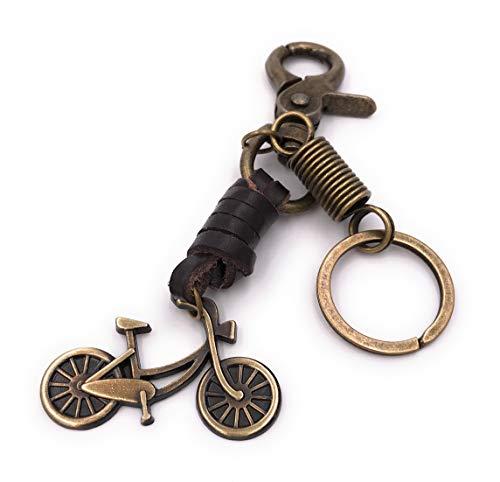 Onwomania Cadena Clave Cascos de Bicicleta Piel Bronce Llavero Colgante