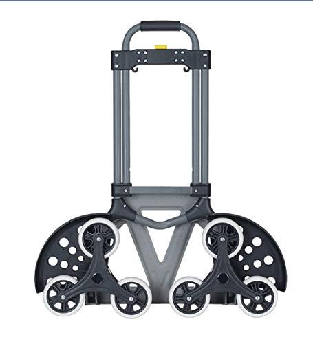 QIANGDA-Chariot Diable Pliable Monte-escalier Portable en Acier avec Poignée Télescopique Capacité De Charge De 70kg,Gris