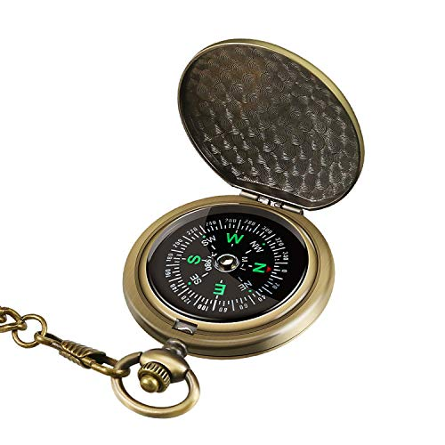Intsun Retro Compass Portable Military Compass Fluorescent Glow Survival Gear Compass Outdoor Navigation Compass Tools for Hiking, Camping, Riding, Hunting, Boating, Boy Scout