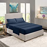 Nestl Kids Deep Pocket Twin Sheets: 3 Piece Twin Size Bed Sheets with Fitted Sheet, Flat Sheet, Pillow Cases - Extra Soft Microfiber Bedsheet Set with Deep Pockets for Twin Sized Mattress - Navy Blue