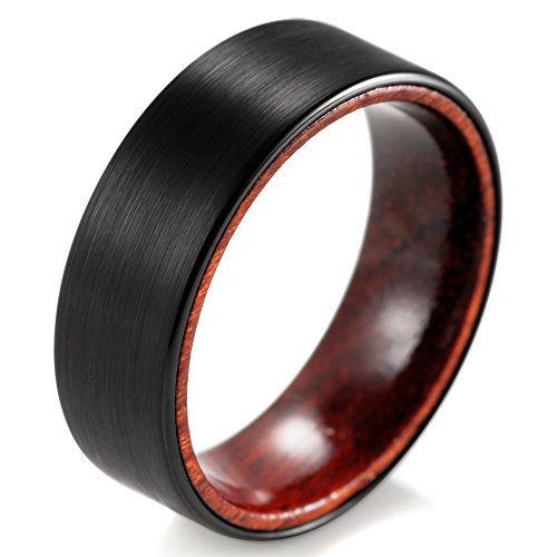 shardon Hombres de 8mm pulido negro anillo de tungsteno con madera interior