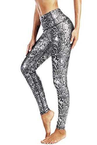 DOP DOVPOD Yoga Pants with Pockets High Waist Workout Leggings Capris for Women (Snake-Black Silver, Large)