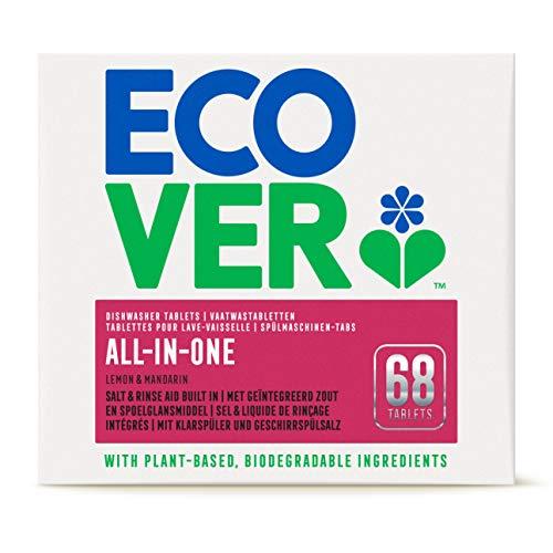 Ecover All-In-One Spülmaschinen-Tabs Zitrone & Mandarine (1,4 kg), Multi-Tabs für eine kraftvolle Reinigung, Ecover Spülmaschinentabs mit Klarspüler und Geschirrspülsalz, 4004064 68 Tabs