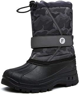 exeblue Boy's Girl's Waterproof Winter Snow Boots Kids Outdoor Mid Calf Boots with Fur Lined (Toddler/Little Kid/Big Kid) Camo