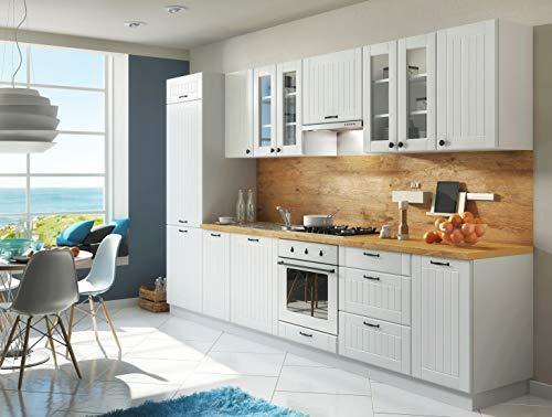Möbel für Dich Landhaus Küche LORA Küchenzeile 320 cm im Landhausstil weiß, beige oder grau (Wiess)
