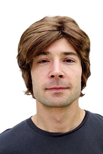 WIG ME UP- Peluca marrón para Hombre con Raya a un Lado y Pelo Corto PW0174-P6