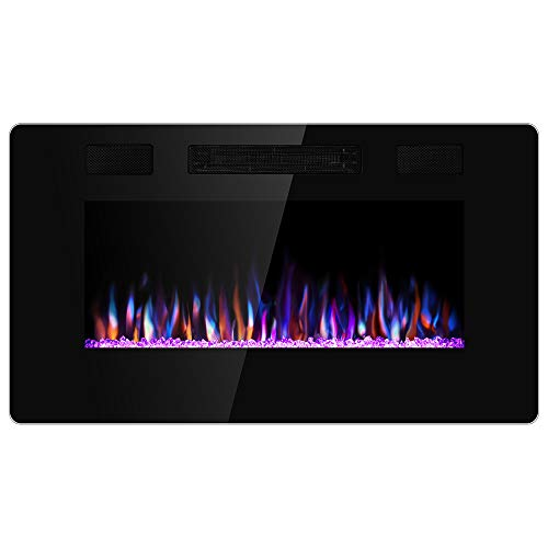 JAMFLY 30 Inch Wall Mounted and Recessed Electric Fireplace Insert, Ultra-Thin Lightweight LED Fireplace Heater, Adjustable Flame LED Colors, Remote Control, Touch Screen, Timer(Low Noise)