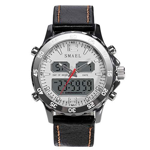 JTTM Relojes Deportivos para Hombre, Resistente al Agua Digital Militares Relojes con Cuenta atrás para los Hombres niños Grandes,LED de analógico Relojes de Pulsera para Hombre,Blanco
