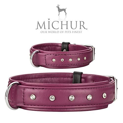 MICHUR Chloe` Hundehalsband Leder, Lederhalsband Hund, Halsband, lila, Leder, sehr edel mit vielen Strasssteinen, in verschiedenen Größen erhältlich