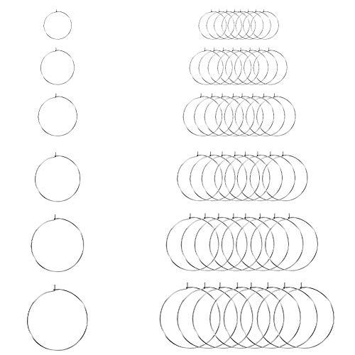 UNICRAFTALE 120 pz 6 Dimensioni 15.5/20/25/30/35/40mm Anelli in Vetro di Vino Anelli 304 Risultati Dell'Orecchino A Cerchio in Acciaio Inossidabile 0.7mm Pin Perline per Orecchini A Cerchio Fare