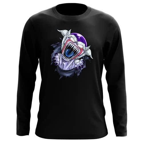 Okiwoki T-Shirt Manches Longues Noir Parodie Dragon Ball Z - Alien - Freezer - La Naissance d'un Alien. (T-Shirt de qualité Premium de Taille L - imprimé en France)