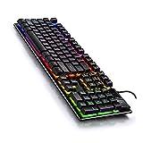 LPZW Retroiluminado por Cable Profesional USB RGB Accesorios DE COMPUTADORA Teclado Juego Mecánico Teclado y Mouse Combo (Color : Black Keyboard)