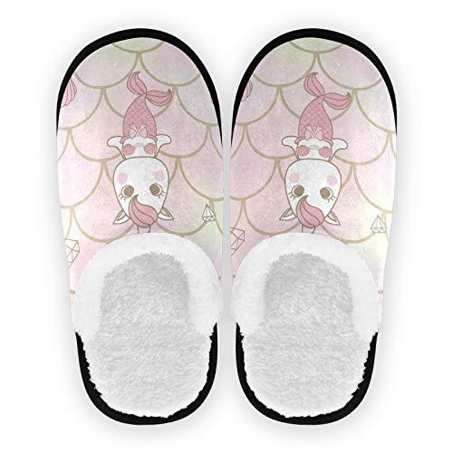 Mnsruu Zapatillas de algodón antideslizantes con diseño de unicornio y escamas de sirena, para casa, hotel, spa, dormitorio, viajes, para hombres y mujeres