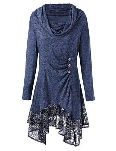 JIER Damen UnregelmäßIg Rollkragen Minikleid Übergröße Vintage Blusen Gothic Patchwork Spitzen T-Shirts Lange Hemden Langarmshirts Rundhals A-Linie Abnehmen Pulli Pullover (Blau,X-Large)