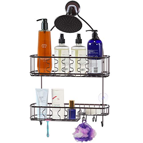 SimpleHouseware Bathroom Hanging Shower Head Caddy Organizer, Bronze (26 x 16 x 5.5 inches)