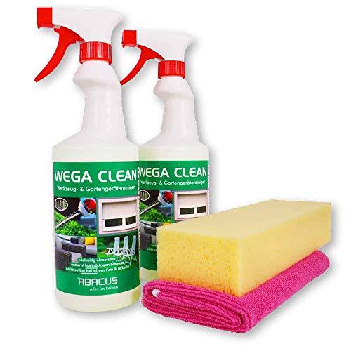 WEGA CLEAN 2x 750 ml SET - Werkzeugreiniger Gartenreingier Fettlöser Nikotinentferner Rußentferner Insektenentferner Vogelkotentferner Gartenmöbelreiniger Fensterrahmen-Reiniger + Tuch und Schwamm