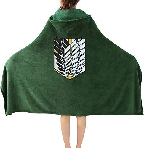 Anime Throw Blanket Flannel Fleece Blanket Cosplay Hooded Cloak Shawl Wrap Nap Quilt (47''X 65'', Green)