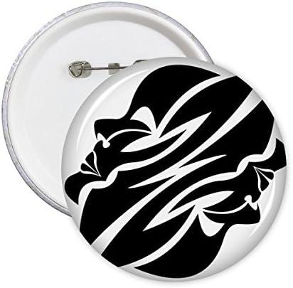 DIYthinker Constellation G/émeaux Signe Symbole Mark Silhouette Illustration rond Motif Pin Badge Bouton 5Pcs S