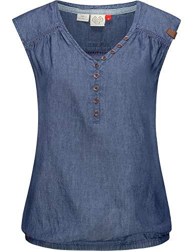 Ragwear Damen Kurzärmelige Bluse Jeansbluse Blusentop Sommerbluse Salty Denim Blau Gr. M