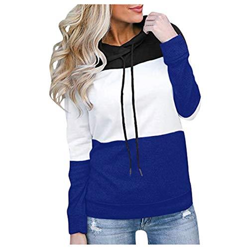 Hhckhxww Herbstliche Frauen Pullover Langarm Hoodie Color Block Top Casual Sweatshirt Jacke