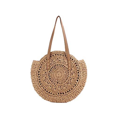 VOANZO Bolso de paja circular hueco hecho a mano de gran capacidad, bolso de playa de verano tejido de un solo hombro (marrón)