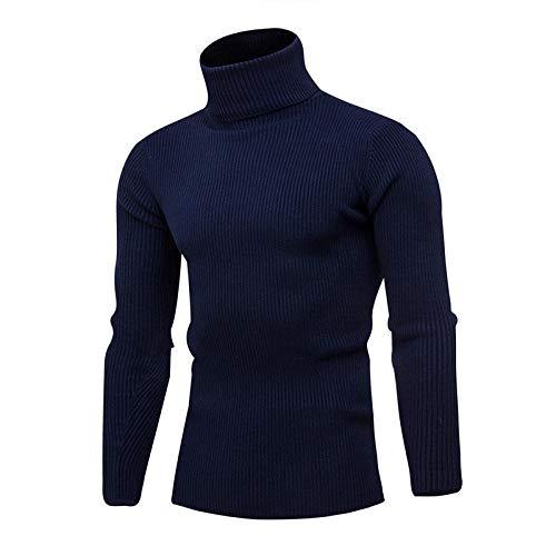 JFHGNJ Lente Coltrui Voor Heren Mode Effen Gebreide Heren Truien Casual Mannelijke Dubbele Kraag Slim Pullover-Navy Blauw 1_M