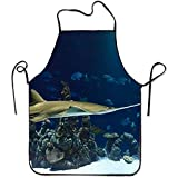 N\A Tiburones de Acuario Sweetheart Chef Delantal de Cocina Delantales Chef Grill Delantal de Cocina Chef