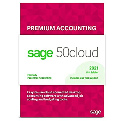 Sage Software Sage 50cloud Premium Accounting 2021 U.S. 1-User One Year Subscription Cloud Connected Small Business Accounting Software