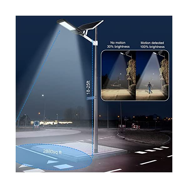 500W Solar Street Flood Light Outdoor,30000 Lumens Solar Street Lamp Dusk to Dawn with Motion Sensor,IP 67 Waterproof…