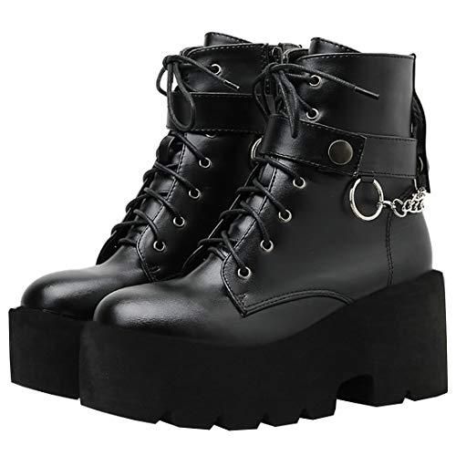 Etebella Damen Blockabsatz Plateau Stiefeletten Goth High Heels Ankle Boots zum Schnüren Punk Kette Schuhe (Schwarz, 39)