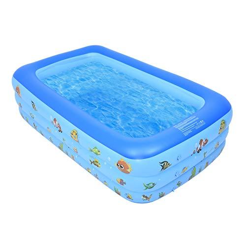 Aufblasbare Pool Groß 203×120×46cm, Schwimmbecken Rechteckig für Kinder Erwachsene, Aufblasbarer Planschbecken für Draussen, Garten, Schwimmbad Kinder Leicht Aufbaubar, Wasser Leicht Entleeren, Blau