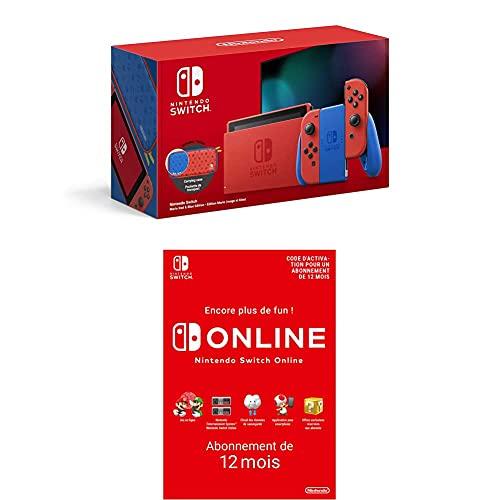 Nintendo Console Switch Edition Mario Rouge/Bleu Switch Online - Abonnement 12 Mois (Code de téléchargement)