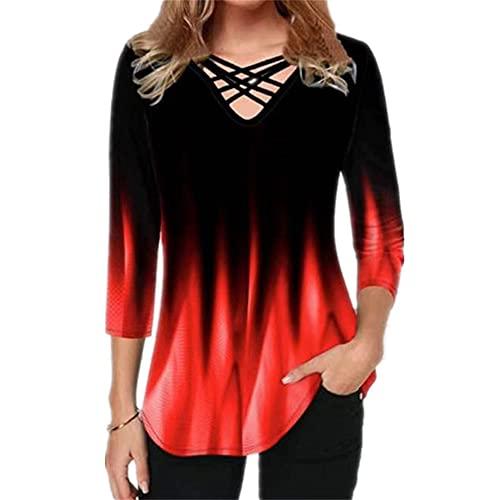 Elesoon Camiseta de verano para mujer, talla grande, manga corta/media, degradado, color degradado, con cuello en V, con cuello en V, C-rojo, 40