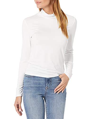 The Drop Women's Phoebe Long Sleeve Turtleneck Second Skin T-Shirt, White, XL