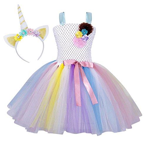 WonderBabe Niñas Unicornio Flor Vestido Elegante Disfraz Cosplay Princesa Vestidos Cumpleaños Carnaval Fiesta Trajes 10-12 Años