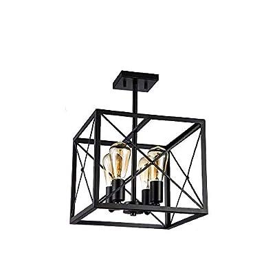 Jinzo Farmhouse Semi Flush Mount Ceiling Light 13 inch Rectangle Industrial 4-Lights Close to Ceiling Light Matt Black with Rustic High Linear Metallic Open Frame