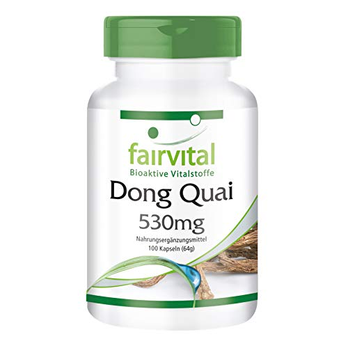 Dong Quai 530mg - Angelica sinensis - VEGANO - Dosis elevada - 100 Cápsulas - Calidad Alemana