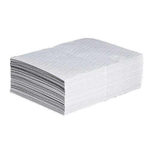 New Pig Corporation Oil Mat | Heavyweight Oil Absorbing Pads | 28-Ounce Absorbency | 15' x 20' | 50 Oil Absorbent Pads | MAT415, White