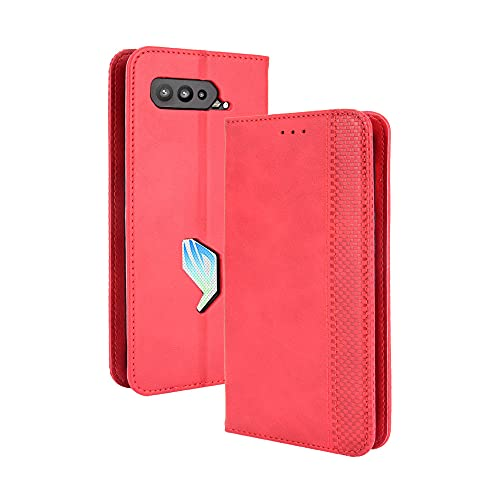 GOGME Leder Hülle für Asus ROG Phone 5 Hülle, Premium PU/TPU Leder Folio Hülle Schutzhülle Handyhülle, Flip Hülle Klapphülle Lederhülle mit Standfunktion und Kartensteckplätzen, Rot