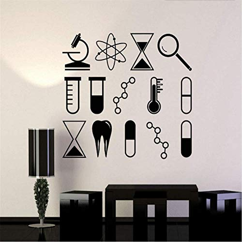 Vinyl Wandaufkleber Wissenschaft Universität Schule Labor Chemie Kreative Aufkleber Innenwand Dekorativ Abnehmbare Wandgröße 42 * 47Cm