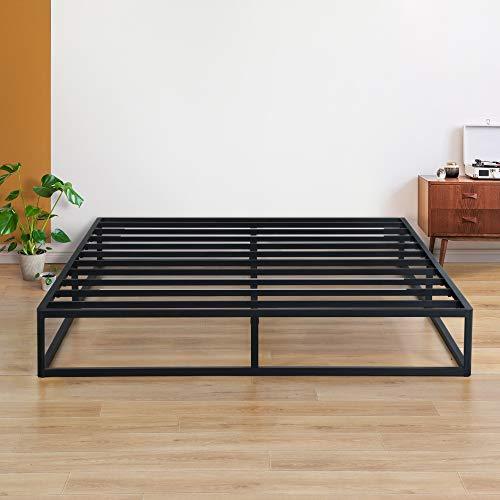 Olee Sleep 9 Inch Modern Metal Platform Bed Frame / Steel Slats / Mattress Foundation / Wood Slat Support / No Box Spring Needed, Queen,VC09BX02Q,Black
