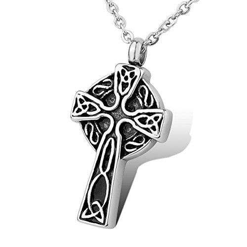 HOUSWEETY Stainless Steel Celtic Knot Cross Waterproof Cremation Urn Necklace Ash Memorial Jewelry(Engraving)