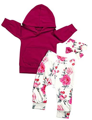 Ttkgyoe Baby Mädchen Langarm Rotwein Hoodie Tops Sweatshirt mit Känguru Tasche Floral Hosen Stirnband Infant Outfits Set