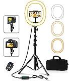 """Cocoda Aro de Luz con Tripode, 12"""" Plegable Anillo de Luz, 3 Colores y 10 Brillos Regulables, Bluetooth Control Remoto, Alimentado por USB, para Selfie, Fotografía, Maquillaje, Volg, Youtube, TIK Tok"""