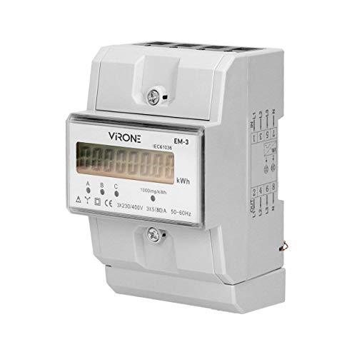 Virone EM-3 Digitaler Wechselstromzähler Dreiphasen Energiezähler, 80A, 3 Module, DIN TH-35mm