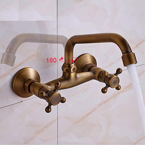 Antieke messing keukenmachine zink faucet 360 wiel warm en koud badkamer keuken mixer Mop Pool Taps muur dubbele greep Faucet